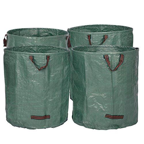 WOLTU® 4X Gartensack 272L XXL Abfallsack Selbstaufstellend Laubsack Gartenabfälle Sack PP Gartenabfallbehälter Gartentasche 150g/m²