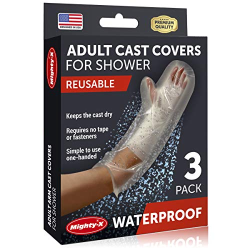 100% Waterproof Cast Cover Arm -【Watertight Seal】 - Reusable Adult Half Arm Cast Covers for Shower Elbow, Hand & Wrist - 3 Pack