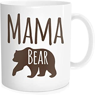 Cartoon Cute Mama Bear Print Coffee Mug Tea Cup For Mom Mommy Mother Grandma Aunt From Son Daughter, Mothers Day & Birthday Halloween Christmas Gifts For Her, White Fine Bone Ceramic 11 oz