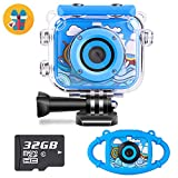 Waterproof Kids Camera Camcorder 12MP HD Kids Action Camera Video Recorder Underwater 32G SD Card - Birthday, Christmas, Festival Gifts for 4-12 Boys Girls (Blue + Silicone case)