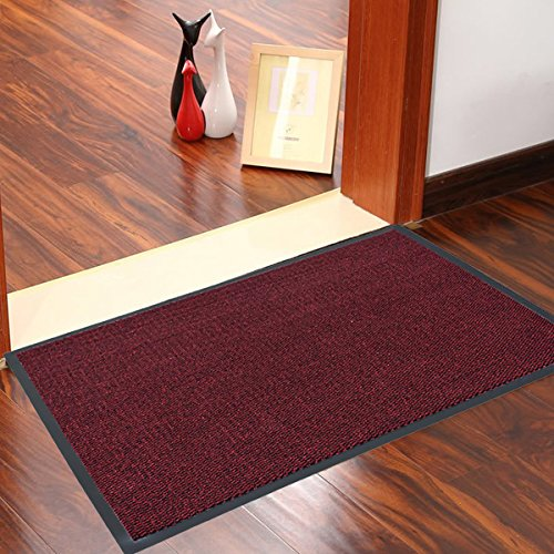 FunkyBuys Large Heavy Duty barriera tappetini tappetini tappeti da Cucina Lavabile in Lavatrice Cattura Sporco Leggero Colori Vivaci Posteriore in Gomma Antiscivolo 60x 90cm- 4Colori Red Black
