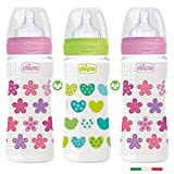 CHICCO biberón 330 flujo rápido, Juedo de 3, Girls colours Mix, made in Italy