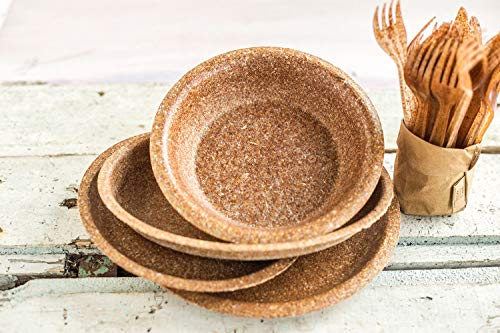 ECOMOLI Einweggeschirr aus Kleie – Teller & Schüssel Set 30 Stück Bio Einwegteller | Ofen – und Mikrowellengeeignet | Biologisch abbaubar | 100% Natürlich – Essbar | Made in EU