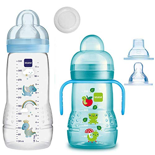 MAM Baby Bottle Smart-Set ab 4 Monate Easy Active Babyflasche 330 ml mit Sauger Gr.2 & MAM Trainer mit Sauger Gr.4 Tropffrei & Soft-Trinkschnabel