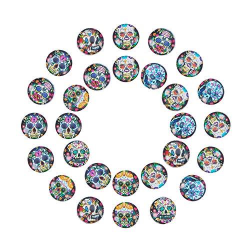 PandaHall Elite 40 Stück 10mm Candy Skull Muster Glas Flatback halbe Runde/Dome Cabochons für Schmuck Machen DIY Projekte, Mischfarbe