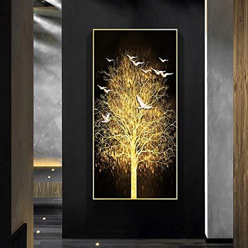 wZUN Pintura Abstracta árbol de Dinero Dorado y pájaro Blanco en Lienzo Pintura Cartel nórdico Cuadro de Arte de Pared para decoración de Sala de Estar 60x120 Sin Marco