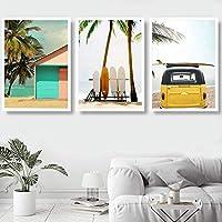 トロピカルコースタルビーチキャンバスポスター北欧スタイルの壁アート海の海の絵画黄色いバスの写真スカンジナビアの家の装飾-40X60cm16x24インチフレームなし