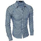 U/A Hombres Ropa Slim Fit Hombres Camisa De Manga Larga De Los Hombres Cuadros De Algodón Casual Camisa De Los Hombres Social