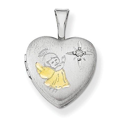 Sterling Silver Rhodium-plated Gold-plated & Diamond Angel 12mm Heart Locke