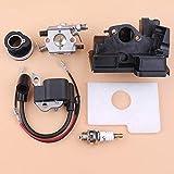 Fried Suave Carburador de la Bobina de Encendido de admisión de la Cubierta Cover Set Compatible con Stihl MS180 MS180 ms170 018 017 Gas Motosierra Piezas de Repuesto Escabroso