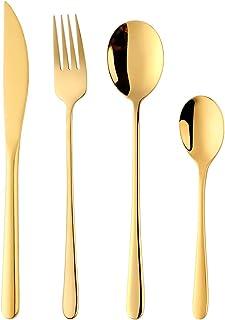 DaMohony Vajilla Set Acero Inoxidable Color Cuchara Tenedor Cuchillo Vajilla Blanco + Dorado 4Pcs // Set