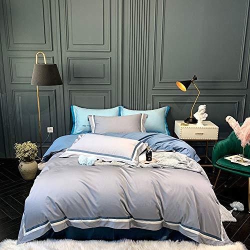 WHSS Juego de cama doble de algodón moderno y simple, bordado de costura, color gris sólido, azul, ropa de cama, estilo hotel, regalo (tamaño: 220 x 240 cm)