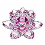 Amlong Crystal Hue Reflection Crystal Lotus Flower with Gift Box, Pink (3 Inch)
