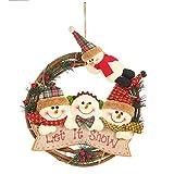 HehiFRlark - Adornos navideños para muñeco de nieve, anillo de ratán, adorno...
