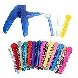 Orthodontic Ligature Ties Multi-Color(1040 Pcs/Bag) and Orthodontic Ligature Gun Tools (Blue)