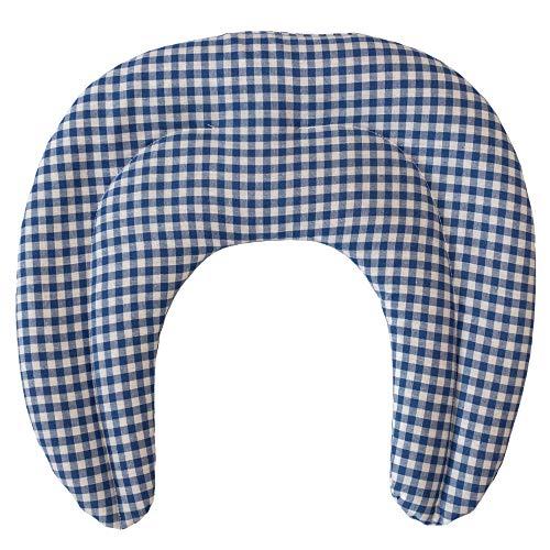 Saco termico de semillas | Cojin termico para el cuello | Almohada termica compartimentada para semillas de grosella (color: azul y blanco)