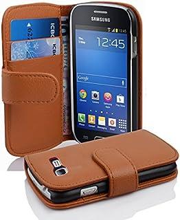 Cadorabo Samsung Galaxy Trend Lite Funda de Cuero Sintético Estructura en MARRÓN Cognac Cubierta Protectora Estilo Libro con Cierre Magnético, Tarjetero y Función de Suporte Etui Case Cover Carcasa