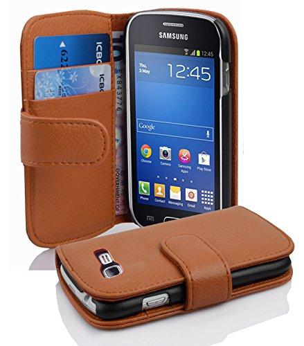 Cadorabo Funda Libro para Samsung Galaxy Trend Lite en MARRÓN Cognac - Cubierta Proteccíon de Cuero Sintético Estructurado con Tarjetero y Función de Suporte - Etui Case Cover Carcasa