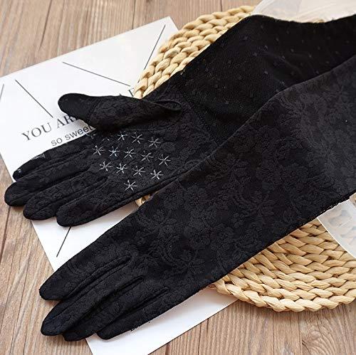Loe Signore Protezione UV Estate guanti di cotone Touch Screen Sudare-assorbente traspirante guanti estesi antiscivolo Mitten attività esterna Guanti (Color : Nero)