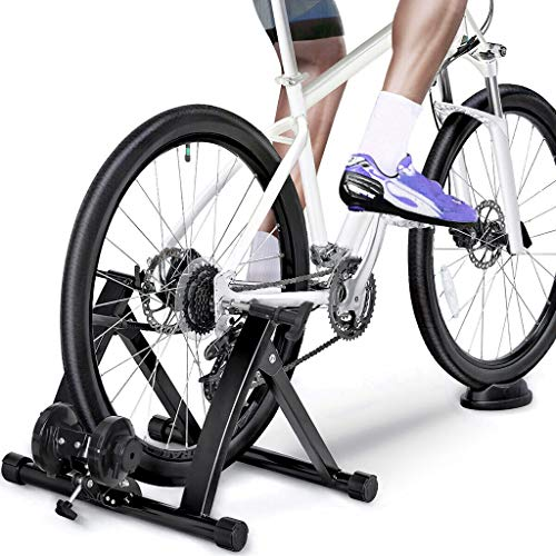 Bike Trainer Stand, Stationary Magnetic Bike Cycle Stand Indoor Exercise Training - Noise Reduction with Front Wheel Riser Block for 26'-28' Mountain & 700C Road Bikes & Fast Shipped from US warehouse