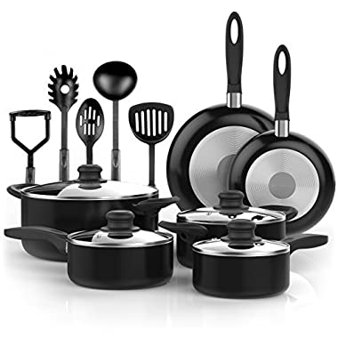 Vremi 15 Piece Nonstick Cookware Set; 2 Saucepans and 2 Dutch Ovens with Glass Lids, 2 Fry Pans and 5 Nonstick Cooking Utensils; Oven Safe