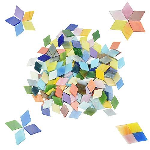 RMENOOR 360 Pcs MosaikSteine Bunt Glasmosaik Raute Mosaik Glas Mosaik Bastelset Mosaiksteine zum Basteln für Homedeko, Fotorahmen, Tassen, Blumentopf