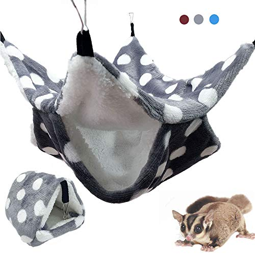 Oncpcare Upgraded Thicken Warm Small Pet Cage Hammock Nest Set, Double-Layer Sugar Glider Hammock, Small Animals Bed for Chinchilla Parrot Sugar Glider Ferrets Rat Hamster Playing Sleeping