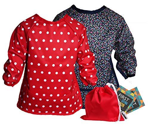 Snazzy Kid® Bavoir imperméable manches longues pour bébé de 6 mois à 3 ans (petites fleurs et rouge)