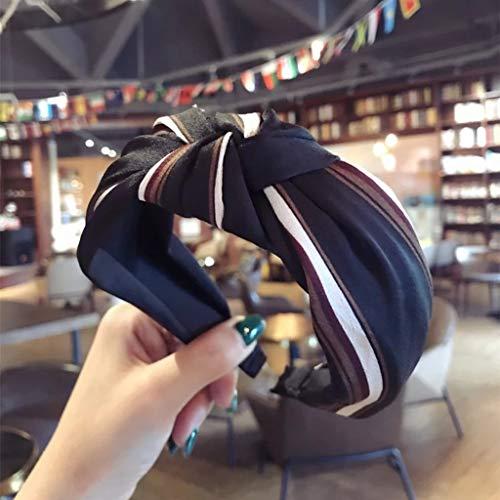 KUANDARM Vintage Mode Casual Bandeaux Imprimés Bandeaux Larges Serre-têtes Tordu Décor, Mode Bandeau Imprimer Accessoires De Cheveux pour Femmes, Black