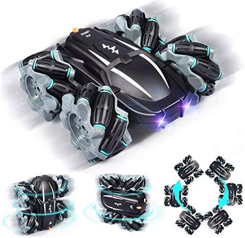 AIH Coches teledirigidos para niños con batería Recargable , Nuevo Coche RC Stunt Car – tracción Total 4WD con Ruedas Omnidireccionales .(Negro)
