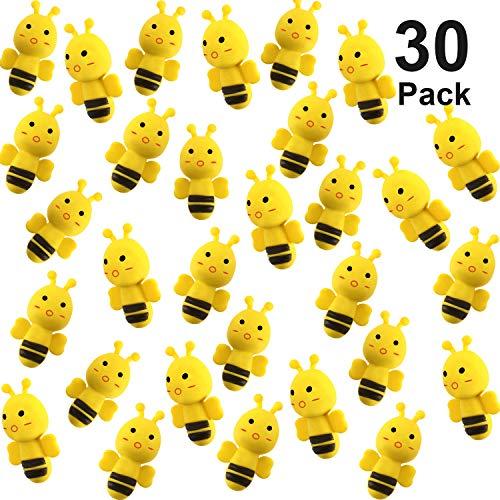 30 Packungen Bienen Radiergummi Sortiment Tier Radiergummis Neuheiten Radiergummis für Party Gefälligkeiten, Belohnungen für Hausaufgaben, Geschenkfüllung und Künstlerbedarf