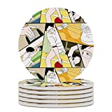 Ping Pong The Animation Print Round Drinks Absorbent Stone Coaster Set with Ceramic Stone and Cork Base for...