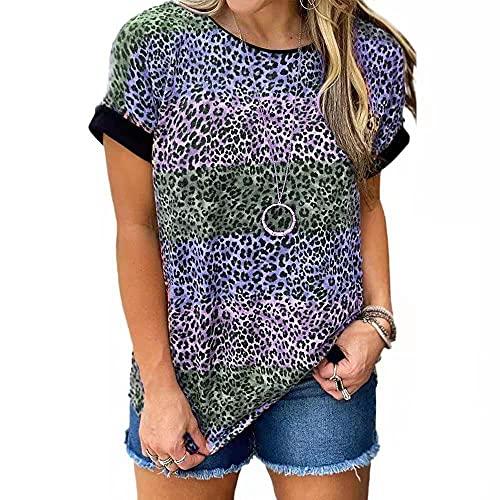 Camiseta Mujer Shirt Mujer Sexy Patrón De Leopardo Cuello Redondo Manga Corta Moda De Verano Casual Suelto Cómodo Chic Nuevas Mujeres Top Mujer Camisas C-Blue L