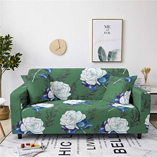 Universal Sofa Cover Spandex Stretch Couch Slipcover White Rose Pattern Tight Fitted Armchair Loveseat Settee Cover 1/2/3/4 Seater Sofa Protector,3,seater 190,230cm