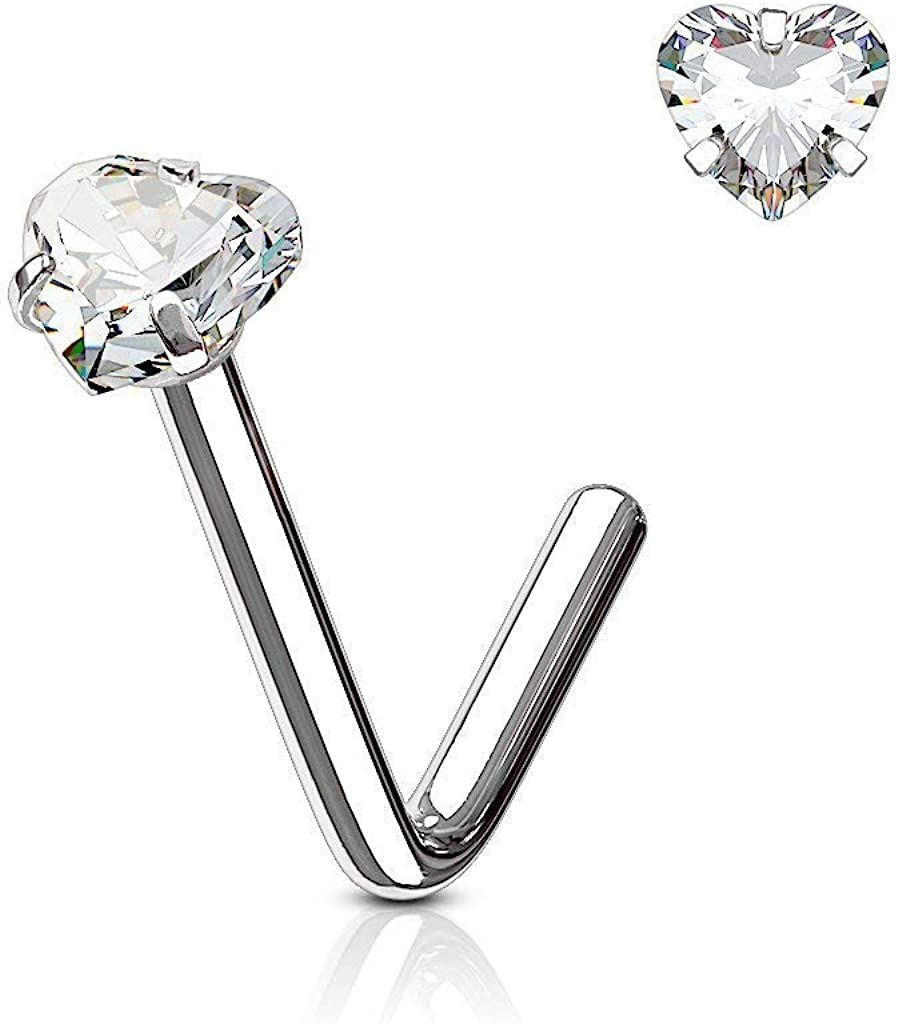 Covet Jewelry Heart CZ Prong 316L Surgical Steel L Bend Nose Stud Ring