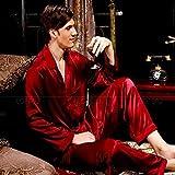 Handaxian Conjunto de Pijama de satén de Seda para Hombre Pijama de Pijama Ropa Informal Pijama de Hombre para Todas Las Estaciones Rojo Vino XXXL