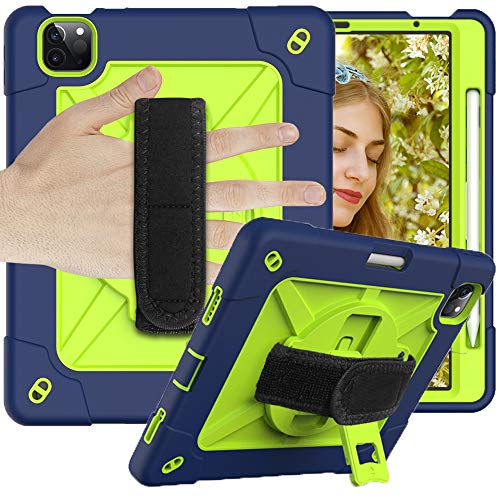 CLARKCAS Case for iPad Air 4th Generation 10.9 inch 2020, iPad Pro 11 inch 2020/2018 Cases Shockproof Heavy Duty Protective Rugged Cover with 360 Rotating Kickstand for iPad Air 4 10.9,Navy + Green