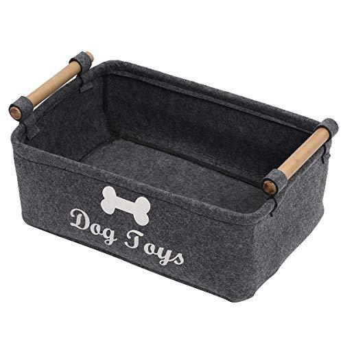 Xbopetda Fiber Soft Felt Dog Toy bin Storage Toy bin Organizer - with Wooden Handle- Pet Supplies Storage Basket/Bin Kids Toy Chest Storage-Dog-Grey