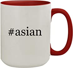#asian - 15oz Hashtag Colored Inner & Handle Ceramic Coffee Mug, Red