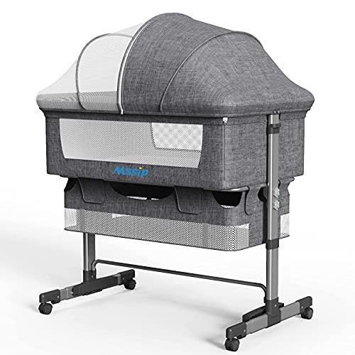 Mssip Bedside Sleeper Adjustable Bedside Crib, with Angle Tilt, Large Storage Bag, Comfortable Mattresses, Lockable Wheels, for Infant/Baby/Newborn, Grey