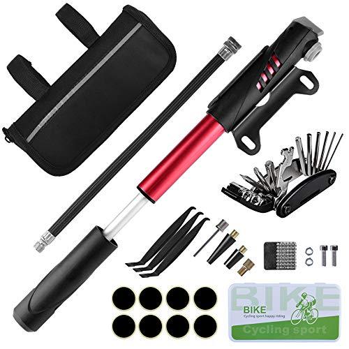 Oziral Fahrrad Reparatur Set Fahrrad Reparaturset in Einer Tasche mit 120 PSI Mini Luftpumpe, Multi Werkzeug, Reifenheber & Selbstklebende Flicken für Reisen, Outdoor, Camping, im Haushalt