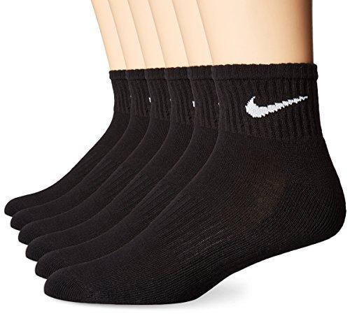 NIKE Unisex Performance Cushion Quarter Socks with Bag (6 Pairs), Black/White, Large