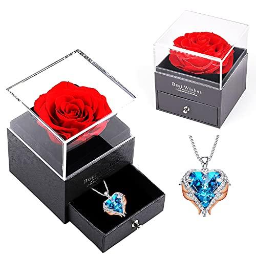 WNING Love Heart Collares para mujer, plateado, chapado en oro rosa, cristal azul con alas de ángel, colgante, joyería para el día de San Valentín, regalos para mujeres, mamá / esposa / hermana