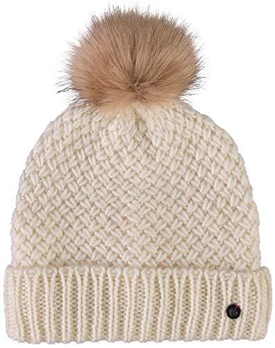 FRAAS Beanie Damen Mütze - Strickmütze mit Umschlagrand und Kunsthaar-Bommel - Hochwertige Wintermütze - Kopfbedeckung aus 30% Wolle Weiß