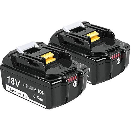 [2 Stuks] DOSCTT BL1860B Accu 18V 5.5Ah Lithium-ion Batterij Vervanging voor Makita BL1850B BL1840B BL1830B BL1850 BL1840 BL1830 BL1815 194205-3 194309-1 LXT400 Gereedschapsbatterijen met Indicator