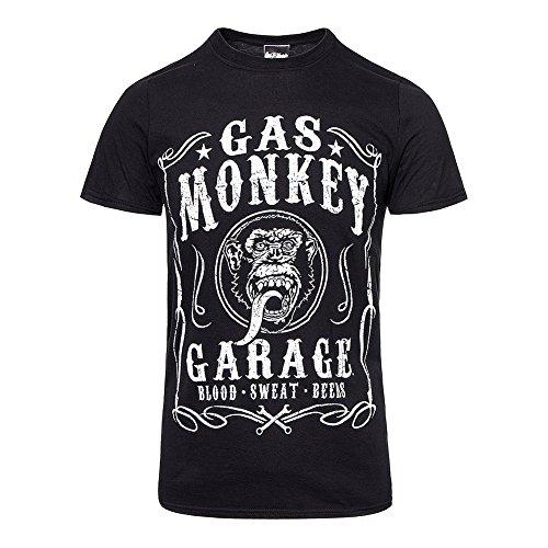 Gas Monkey Garage Flourish T-shirt noir officiel Autorisé