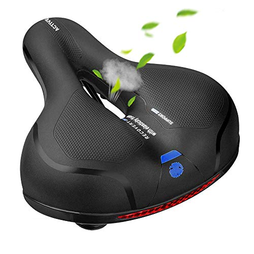 MSDADA Comfortable Bike Seat-Padded Soft BikeSeatCushion Memory Foam Waterproof Wide Bike Saddle with Dual Shock Absorbing Rubber Balls Universal Fit for Indoor/Outdoor Bikes with Reflective Strip