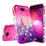 GW Cases for LG X Power 2 Case LG Fiesta,LG K10 Power,LG X Charge,LG Fiesta 2 Case Liquid Glitter Cute Phone Case Kickstand Bling Ring Stand Clear Girls Women Compatible for LG Fiesta 2 (Hot Pink)