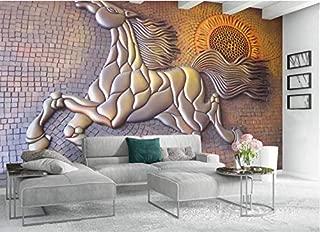 Door Murals 3D Embossed Effect Horse for Living Room Sofa Bedroom Tv Backdrop (W)500X(H)280Cm Solk Cloth