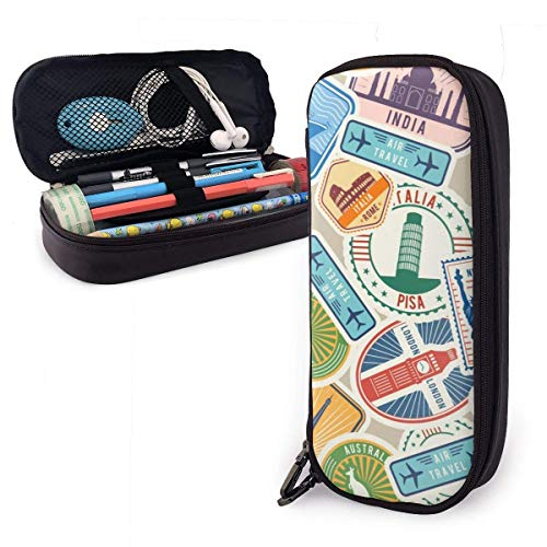 Pencil Case Pen Bag Multicolored Cartoon Stamps Multiple Countries Pencil Case, Large Capacity Pen Case Pencil Bag Stationery Pouch Pencil Holder Pouch with Big Compartments